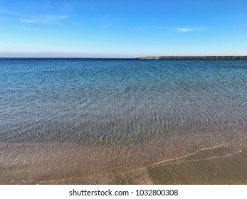 The blue color of the Black Sea in Constanta
