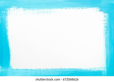 blue color border painted on white paper