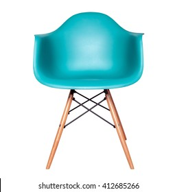 Blue color chair, modern designer chair isolated on white background. Plastic chair cut out. Series of furniture