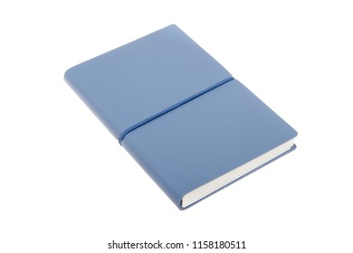 Blue color cover note book isolated. Sketch book. Diary notebook in blue leather cover