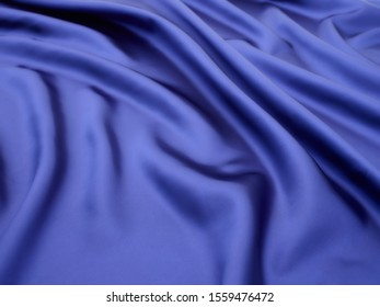 Blue color glossy satin cloth