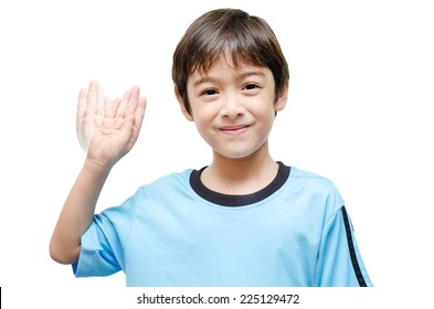 Blue color kid hand sign language on white background