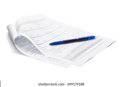 Blue color pen on form document isolated on white background with clipping path. ready to use.