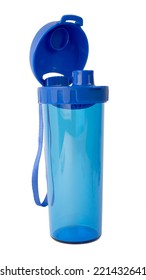 Blue Color Plastic And Transparent Bottle Water Canteen Tumbler With Cover On White Background