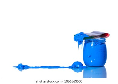 the blue color of plastisol ink on white background.