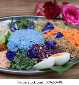 blue color rice salad, traditional Thai cuisine