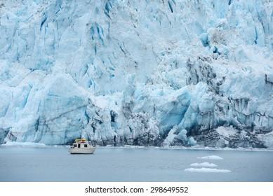 blue color of tidewater glacier in prince william sound in alaska