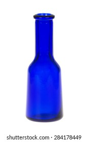 blue colored medicine bottle, isolated on white