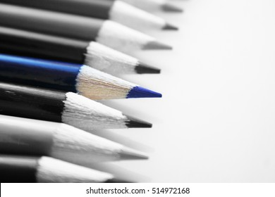 Blue Colored Pencil Black & White Stock Photo High Quality