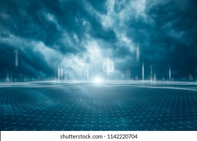 Blue colored stormy cloudscape with digital computer network net background.