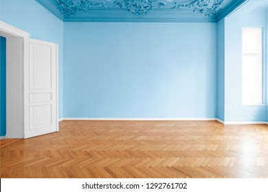blue colored walls in new painted room , flat after renovation