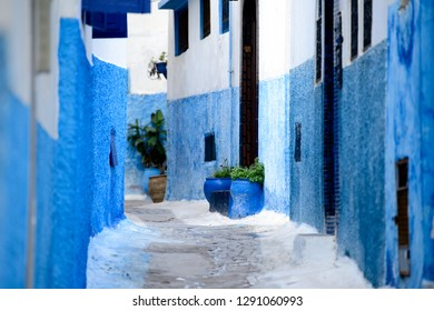 Blue colored walls of old houses in medina of Rabat, Morocco