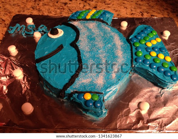 Excellent Blue Colorful Fish Shaped Birthday Cake Stock Photo Edit Now Personalised Birthday Cards Veneteletsinfo