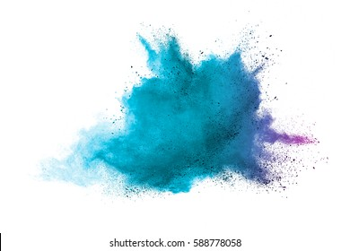Blue colorful powder explosion on white background. Colored cloud. Colorful dust explode. Paint Holi.