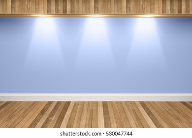 Blue colors wall & wood floor interior with light spots,3D illustration