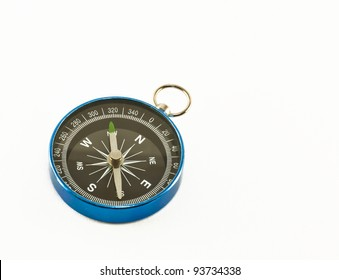 The blue compass isolated on white background