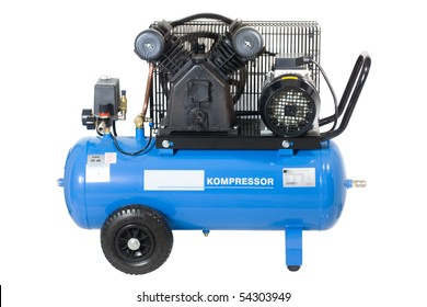 Blue compressor isolated on a white background.