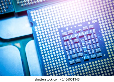 Blue computer CPU on a silver background Modern technology concepts. Selective focus image.