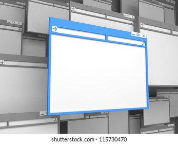 Blue Computer Window. Isolated on White Background.