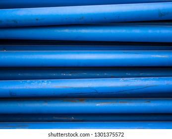 Blue conduits close up