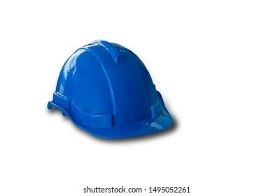 Blue construction hat, isolated on white background with clipping path.