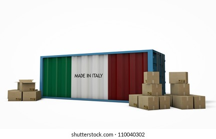 blue container with italian flag isolated on white background