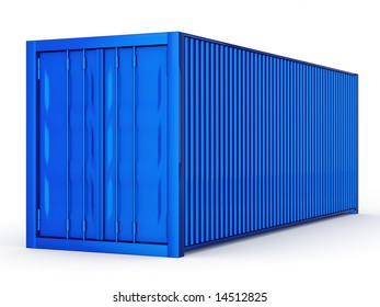 blue container on white background