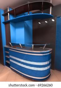 Blue contemporary counter
