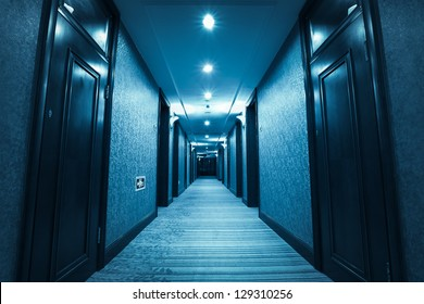 blue corridor of hotel room