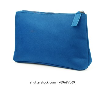 Blue cosmetic bag isolated on white