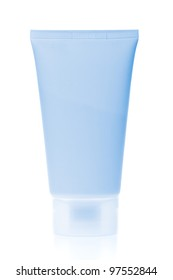 blue cosmetic bottle isolated on white background