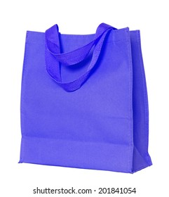blue cotton bag isolated on white with clipping path