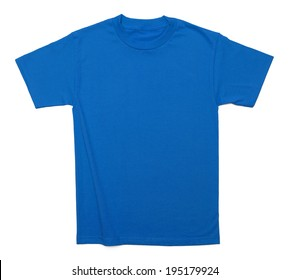 Blue Cotton Shirt with Copy Space Isolated on White Background.