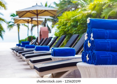 Blue cotton towels at Swimming pool