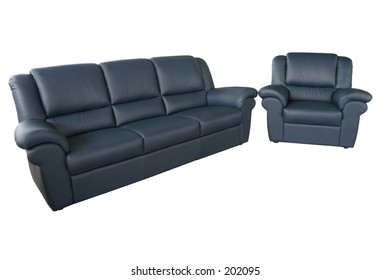 blue couch and sofa