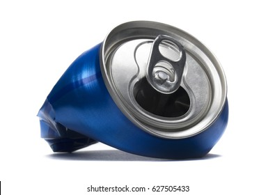 Blue crushed soda can. Isolated soda can on a white background.
