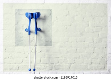 blue crutches isolated