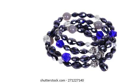 Blue crystal bracelet isolated on the white background.