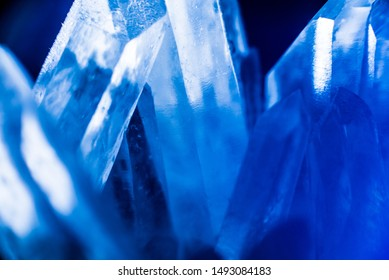 Blue crystal texture and background. Beautiful abstract background. Ice cave