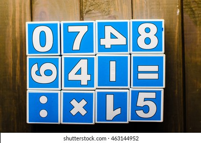 Blue cubes with numbers