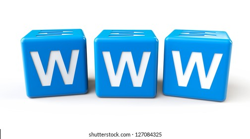 Blue cubes with www letters on a white background