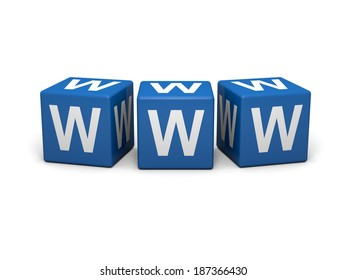 Blue cubes with www sign on a white background