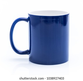 Blue cup isolated on a white background
