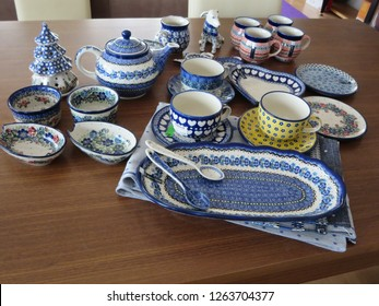 Blue Cup and plate made in Polish