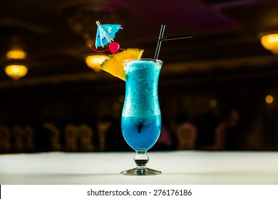Blue Curacao cocktail with
