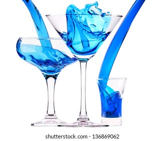 Blue Curacao cocktail splash isolated on white