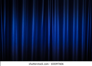 Blue curtain background.