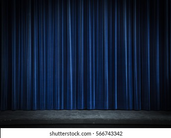 Blue Curtain Stage Background