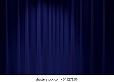 blue curtain stage background for chromakey 3D rendering
