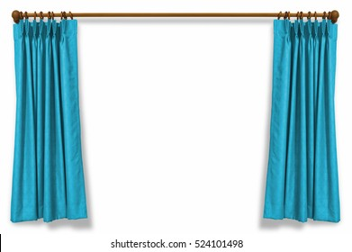 Blue curtains isolated on white background with clipping path.